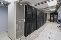 Servers in a data center room in an office building.