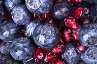 Blueberries and pomegranate seeds.