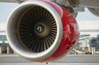The jet engine of a commercial airliner.