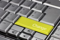 "Keyboard with green ""Change"" key"