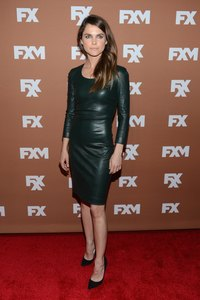 Keri Russel sports a leather dress at the 2013 XF Upfront Bowling Event.