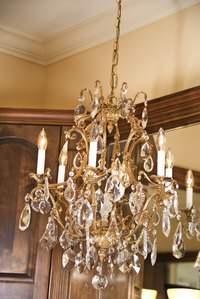 Add a chandelier to rooms with high ceilings or stairwells.
