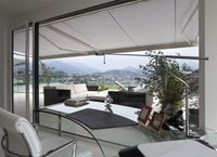 Patio awnings are often made of acrylic fabric thanks to its UV and moisture-resistant qualities.
