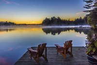 Enjoy sunset at a remote Adirondack hotel.