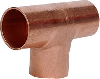 Copper tees have two parallel openings and one perpendicular.