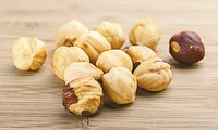 Properly roasted hazelnuts have an even golden-brown color.