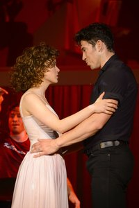"Close-up of couple pretending to be Dirty Dancing's Johnny Castle and ""Baby"""