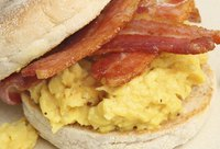 Add some crispy bacon to your muffin sandwich for a heartier breakfast.