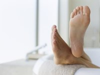 The acetic acid in vinegar softens feet.
