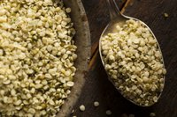 A close-up of organic hulled hemp seeds.