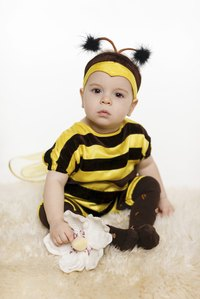 Homemade bee wings are a great finishing touch for a cute bee costume.