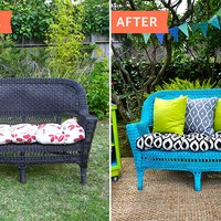 Before Amp After Updating An Old Wicker Chair With