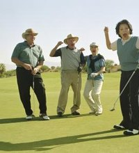 A scramble is a stroke play golf tournament format in which a team of players -- typically three or four -- all tee off, then one player's shot ...