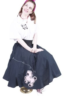 A vintage thrift shop might feature a poodle skirt ensemble.