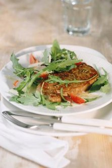 Steak and salad might be a typical meal for people with type O blood on the Blood Type diet.