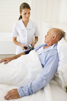 Home health care nurses look after patients' medical needs at home.