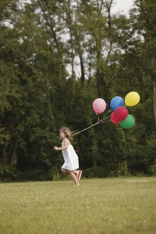 Helium balloons are used at children's parties as decor.