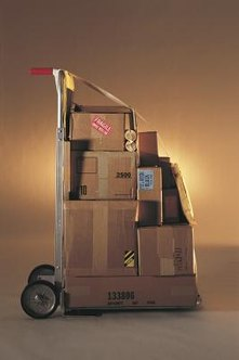 Strap objects securely to a hand truck.
