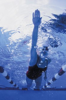 Advanced swimmers usually do interval training for the main part of their workout.