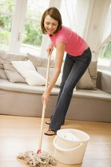 Vinegar and water is one way to disinfect wood floors.