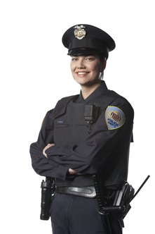 A written exam is an important step in becoming a police officer.