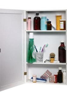 Use inserts to install medicine cabinets on concrete walls.