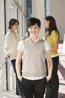 Neutral colors are well suited for business casual clothing.