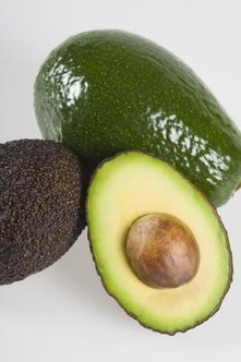 Avocados are generally either very dark, almost black, or a bright green with a creamy interior.