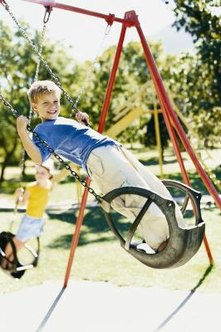 Anchor your swing set for safety.
