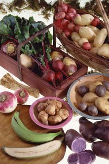 Jerusalem artichokes -- in the pink bowl, center -- are classified as a root vegetable.