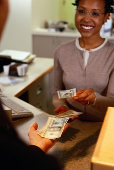 Bank tellers work with different types of customers, including individuals and businesses.