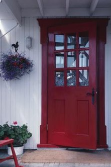 Fiberglass doors can be fitted with enclosed shades.