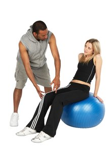 Fitness trainers must be comfortable as they bend, twist and stoop.
