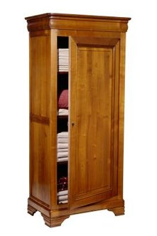 A curtained armoire in a child's room is easier to access -- with no pinched fingers.