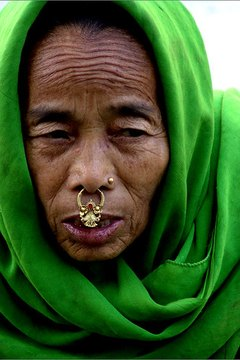 A woman with a gold nose ring.