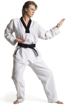 Karate training builds confidence along with physical power.
