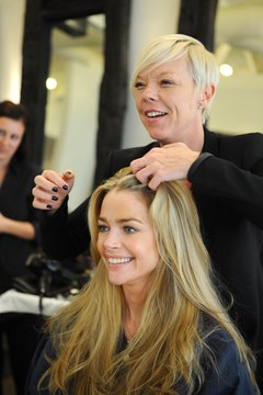 Stylist to the stars, Tabatha Coffey, works on Denise Richards' hair.