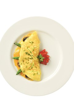Traditional omelets have far more fat than egg-white omelets.