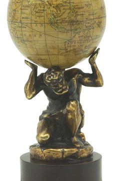 Atlas still carries the world on his shoulders, albeit in a book of maps.