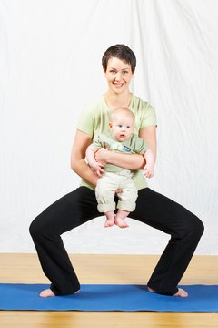 Squats can help you stretch the pelvic muscles in preparation for childbirth.