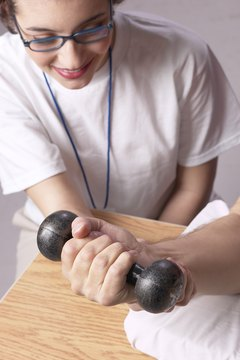 Patients work to increase strength.