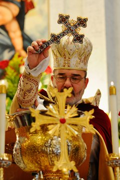 "Armenian priests conduct the ""Blessing of the Water"" during Christmas services."