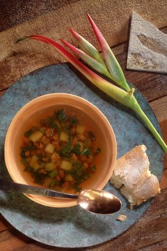 Vegetable soup is hearty, healthy and inexpensive to make.