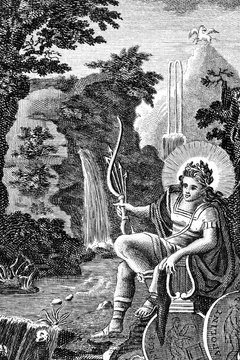 As the god of music, Apollo is often depicted carrying his lyre.