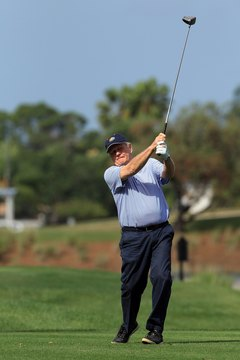 Golf great Jack Nicklaus tees off at a 2012 pro-am event.