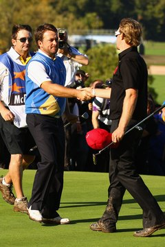 Europe's Graeme McDowell (left) defeated Hunter Mahan in a 2010 Ryder Cup singles match.