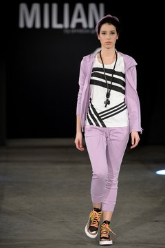 A model shows off pale purple pants with black and white at Platform Fashion in Dusseldorf, Germany, in February 2014.