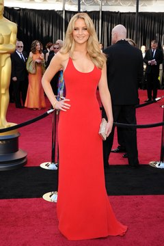 Jennifer Lawrence shows off a nude pout with her red dress at the 2011 Academy Awards in Hollywood.