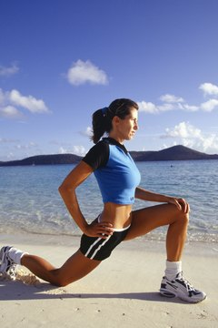 Lunges hit your glutes, quadriceps, hamstrings and calves.