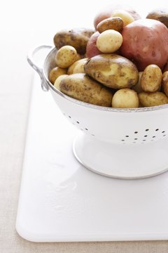 Potatoes come in different colors and sizes.